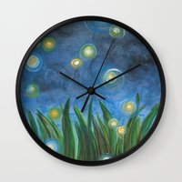 fireflies Wall Clocks featuring Fireflies by Kristen Fagan