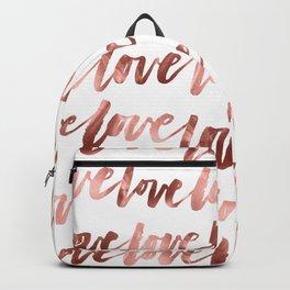 Rose Gold Love Script Backpack