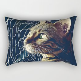 bengal cat yearns for freedom vector art foggy night Rectangular Pillow