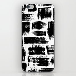 Black brush stripes plaid iPhone Skin