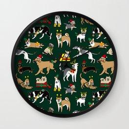 Christmas Dogs Green Wall Clock