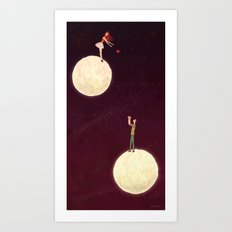 2 moons, a girl and a boy! Art Print