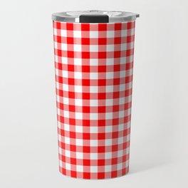 Australian Flag Red and White Jackaroo Gingham Check Travel Mug