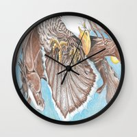 guardians Wall Clocks featuring Guardians by Connie Campbell