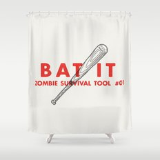 Bat it - Zombie Survival Tools Shower Curtain