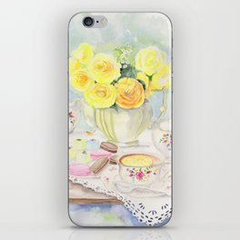 I Love Yellow Roses at Tea Time iPhone Skin