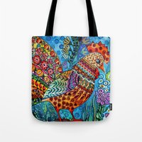 cock Tote Bags featuring Cock by oxana zaika
