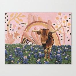 Rainbow over Texas Longhorns and Bluebonnets Canvas Print