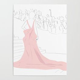 Pink Gown Oscar Red Carpet Hollywood Poster