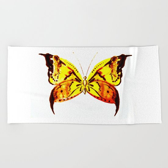 yellow butterfly Beach Towel