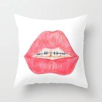 lip Throw Pillows featuring lip teeth by ArtSchool