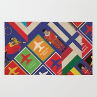 travel poster Area & Throw Rugs featuring EU Travel Poster by Thefunctionalfox