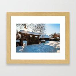Sun star in a Romanian Village in winter Framed Art Print