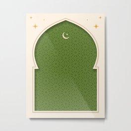 Mihrab - Light Green Metal Print