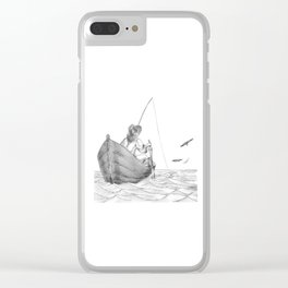 man fishing Clear iPhone Case