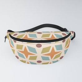 Mid Century Modern Abstract Star Dot Pattern 441 Orange Brown Blue Olive Green Fanny Pack