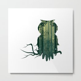 Owl with forest landscape Metal Print