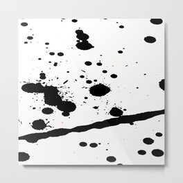 Black Paint Splatters on White Background Metal Print