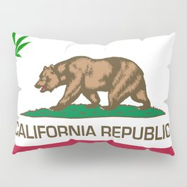 California Republic state flag with green Cannabis leaf Pillow Sham