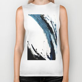 Reykjavik: a pretty and minimal mixed media piece in black, white, and blue Biker Tank