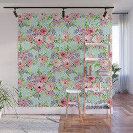 Blooming floral bouquet watercolor hand paint Wall Mural