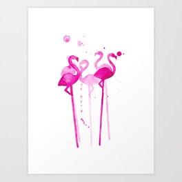 Flamingo Stirrers Art Print