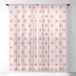 Pink & Gold Glitter Polka Dots Sheer Curtain