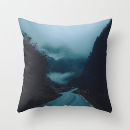 The Road Darkens Throw Pillow