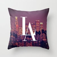 dodgers Throw Pillows featuring Downtown LA Vintage Skyline Typography by RexLambo
