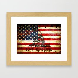 Don't Tread on Me - American Flag And Gadsden Flag Composition Framed Art Print