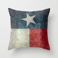 Texas state flag, Vintage banner version Throw Pillow