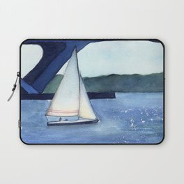 """""""Off to a journey"""" Sailboat Watercolor Painting Laptop Sleeve"""