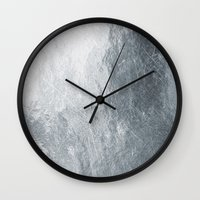 silver Wall Clocks featuring Silver by Patterns and Textures