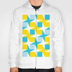 Orange & turquoise blue stars & squares geometric pattern Hoody