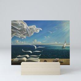 Paper Birds surreal literary seaside nautical portrait painting  Mini Art Print