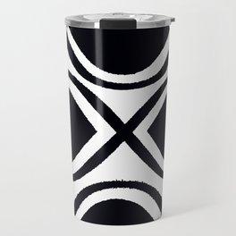BLACK AND WHITE RANDOM GRAPHIC Travel Mug