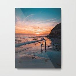 Surfer Sunset Silhouette Metal Print