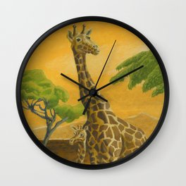 Giraffes at Sunset Wall Clock