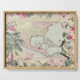 Tropical Caribbean Map Illustration With Pelican And Exotic Flowers Serving Tray