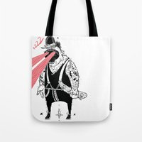 the dude Tote Bags featuring dude by Dávid Kurňavka