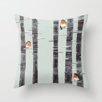 snow Throw Pillows featuring Robin Trees by Sandra Dieckmann