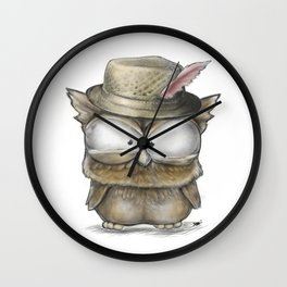 I'll show you a Hoot! - Angry Owl Illustration - Kawaii Wall Clock