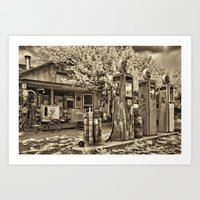 Vintage • Gas Station • Sepia • Infrared Art Print