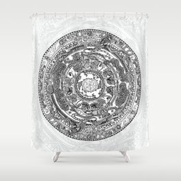 An Island Mandala - PEI, Canada - Original Colors - Black on White Shower Curtain