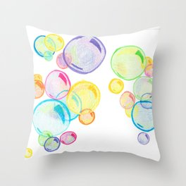 Rainbow Pastel Bubbles Floating Throw Pillow