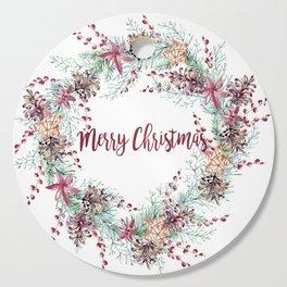 Xmas Wreath White Cutting Board