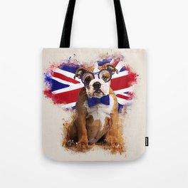 English Bulldog Puppy in Glasses Tote Bag