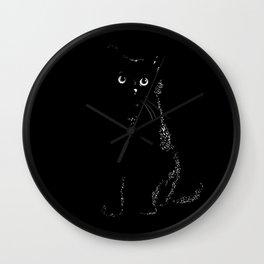 Black black cat in a black black room Wall Clock