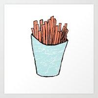 fries Art Prints featuring fries by Erik Berg