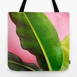 Banana Palm Leaves Pink Background Tote Bag